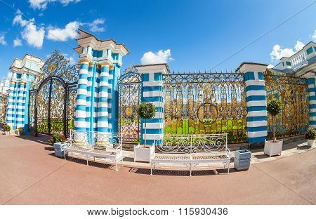 Openwork Gate Of Catherine Palace - The Summer Residence Of The Russian Tsars. Tsarskoye Selo, Russi