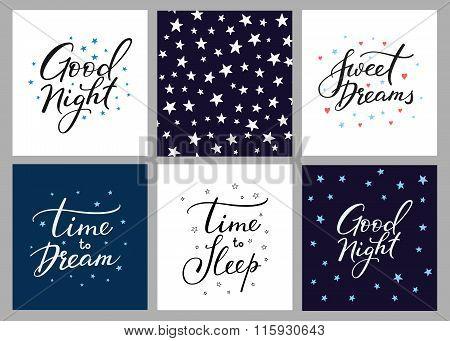Good Night Lettering Postcard Set