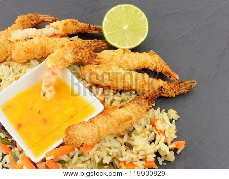 Coconut And Batter Coated Prawns