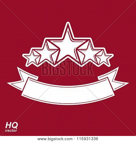 Vector Monarch Symbol. Festive Graphic Emblem With Five Pentagonal Stars And Curvy Ribbon - Decorati