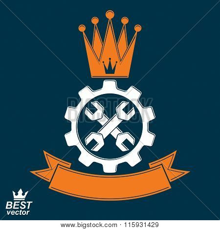 Manufacturing Award Idea Illustration. Simple Vector Crossed Spanners Placed In Industry Cog Whee