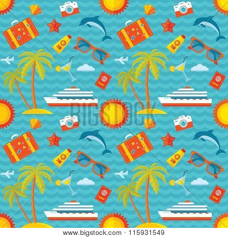 Summer vacation vector background seamless pattern in flat style design. Travel vector background.