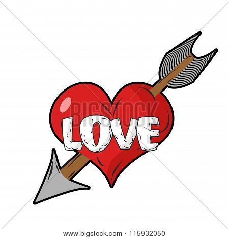 Red Heart And Arrow Of Cupid. Emblem For Everlasting Love. Sign Of Love. Logo For Valentines Day.