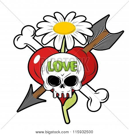 Death And Love. Skull And Red Heart. Sign For Tattoos. Chamomile And Bone. Cupids Arrow. Logo For Lo