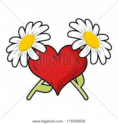Red Heart And Crossbones Flowers. Chamomile And Love. Symbol Of Endless Love And Love. Sign For Vale