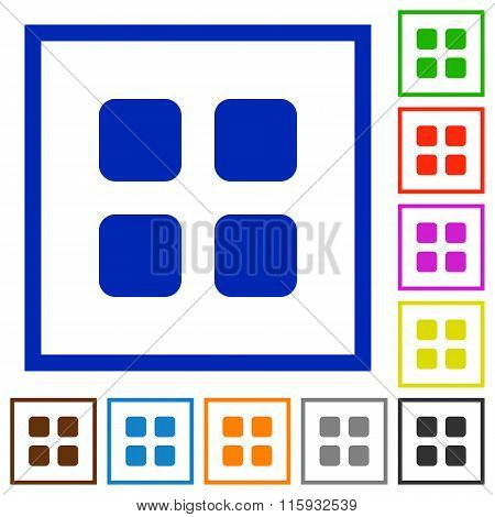 Large Grid View Framed Flat Icons