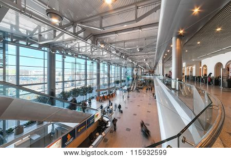 Moscow/russia - June , 2014; Interior Hall Of The Airport Domodedovo In Moscow. Domodedovo Airport -