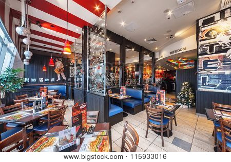 Moscow - December 2014 : T.g.i's Friday In Shopping Center European. Tgi Fridays Is An American