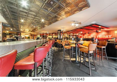 Moscow - December 2014 : T.g.i's Friday In Moscow Palace Of Youth. Tgi Fridays Is An American Th