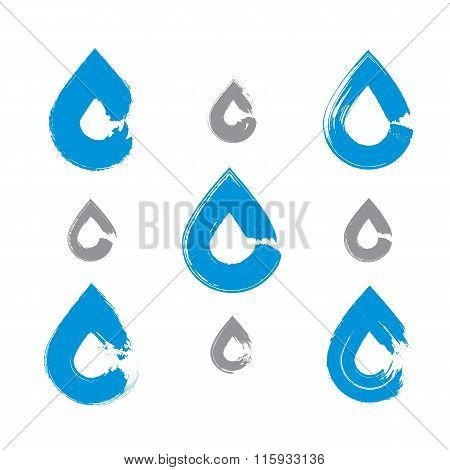 Set Of Hand-painted Blue Water Drop Icons Isolated On White Background, Collection
