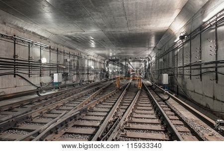 System Forks Railway Tracks In The Modern Subway Tunnel