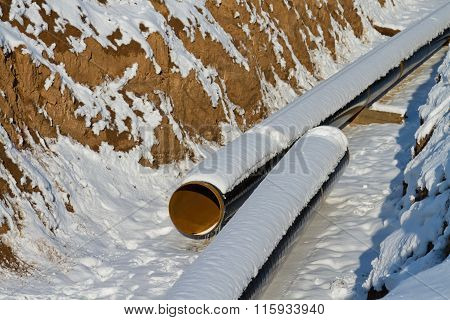 Pipeline Laying In Polymeric Insulation In A Trench Dug