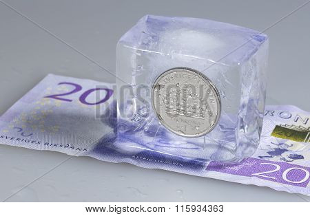 Swedish One Krona Coin In Ice