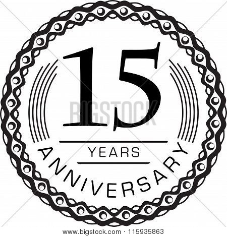 Vintage Anniversary 15 Years Round Emblem. Retro Styled Vector Background In Black Tones. .