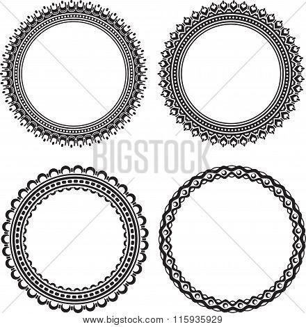 Set Of 4 Elegant Vector Round Frames