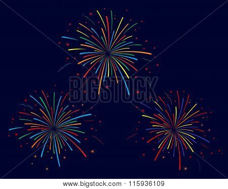 The vector illustration of colorful fireworks on blue background