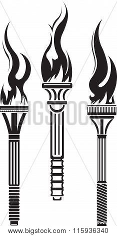 Set Of 3 Decorative Black Vector Torches