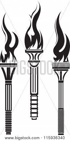 Set Of 3 Decorative Black Vector Torches