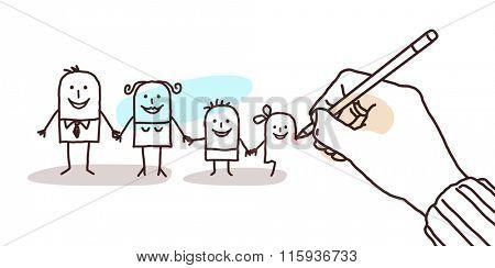 designer hand drawing a cartoon family