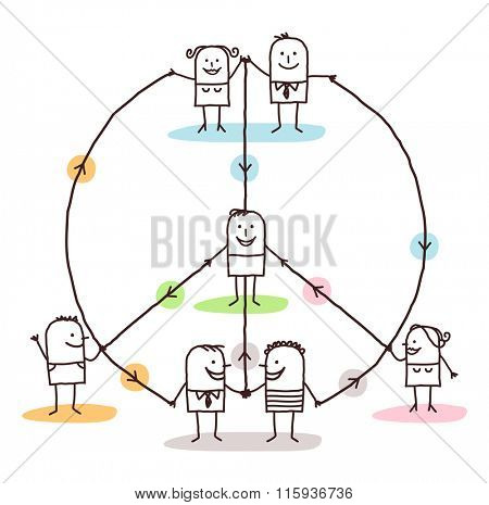 connected people making a peace and love sign