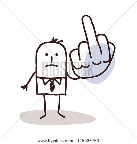 cartoon man doing the finger up sign