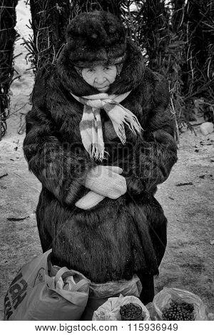 Old Woman In Fur Selling Berries In Winter