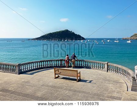 Concha Bay In San Sebastian, Guipuzcoa. Spain