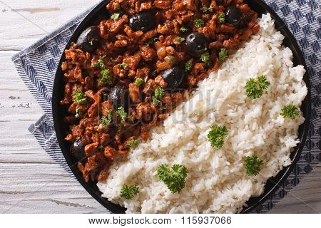 Cuban Picadillo A La Habanera With Rice Close-up. Horizontal Top View