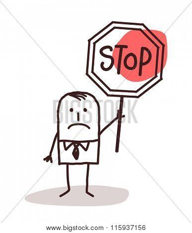 cartoon businessman holding a stop sign