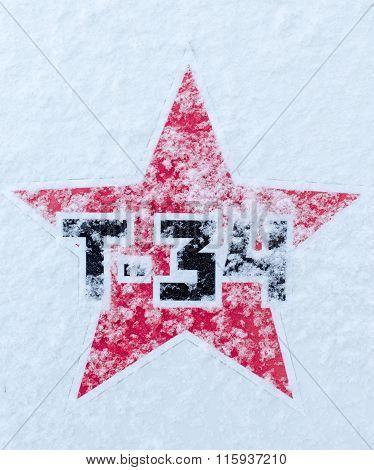 Russian T34 Soviet Star On Snow