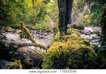 Feet Man standing on log over river outdoor Lifestyle Travel