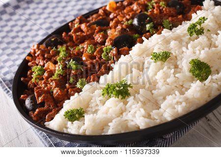 White Rice And Picadillo A La Habanera Close-up. Horizontal