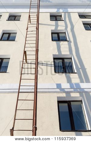 External Building Ladder In Sun