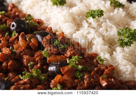 Cuban Cuisine: Picadillo A La Habanera With Rice Macro. Horizontal