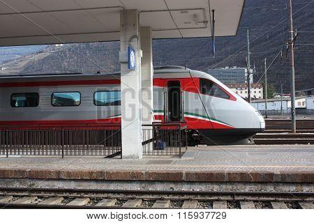 Bolzano-Bozen railway station, Italy. Train departure.