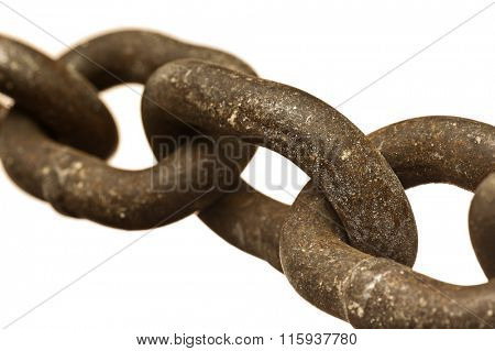 Close-up image of rusty, heavy chain isolated on a white background