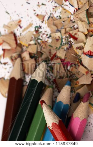 Wooden Crayons. Creative Mess On The Table.