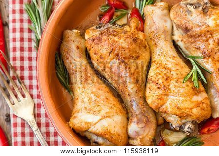 Roasted Chicken Legs With Rosemary, Garlic And Red Chili Pepper