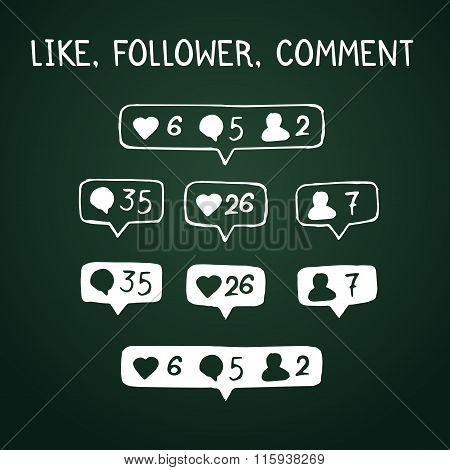 Like, follower, comment icons on chalkboard