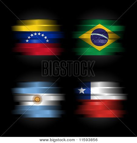 Set Of South America Flags