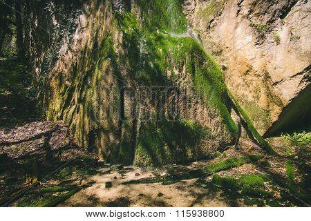Waterfall in rocky Mountains Landscape
