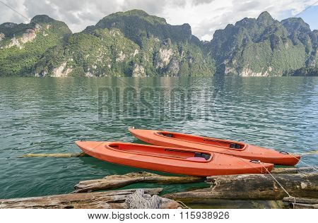 Two Boats Floating In Ratchaprapha Dam At Khao Sok National Park, Surat Thani, Thailand.