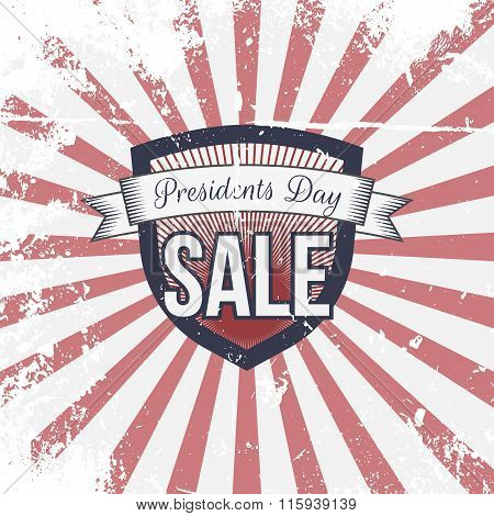 Presidents Day Sale Label and Ribbon with Text