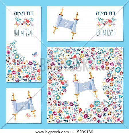 Set Of Bat Mitzvah Invitation Cards With Torah Scroll And Floral Ornament. Template.
