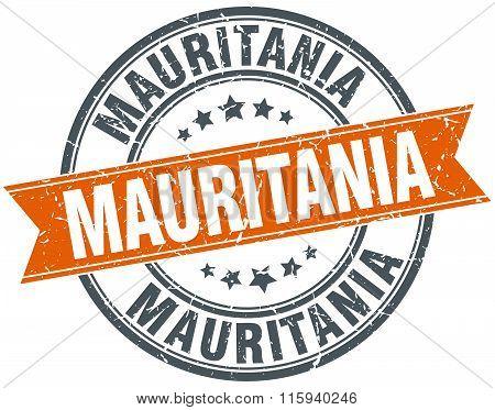 Mauritania orange round grunge vintage ribbon stamp