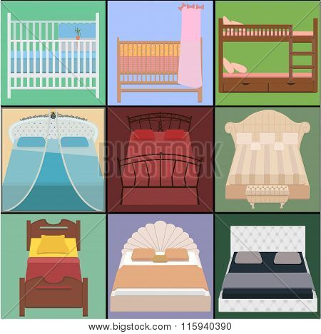 Vector Bed Set. Collection Different Types Of Beds. Vector Illustration