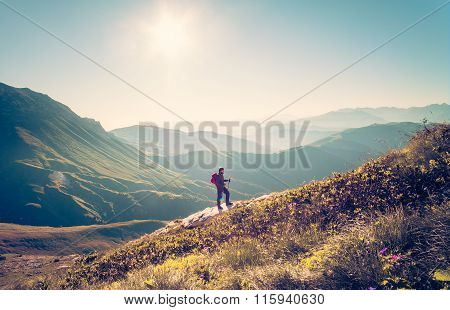 Man Traveler with backpack trekking Travel Lifestyle concept