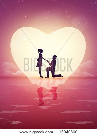 Silhouette of young man proposing to his beloved on beautiful nature background for Happy Valentine's Day celebration.