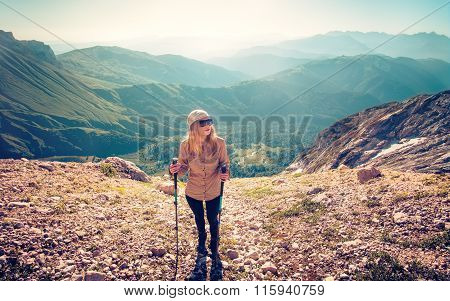 Young Woman hiking outdoor Travel Lifestyle concept