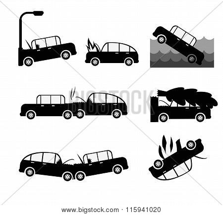 Car Crash Vector Set. Insurance Cases Car Crash